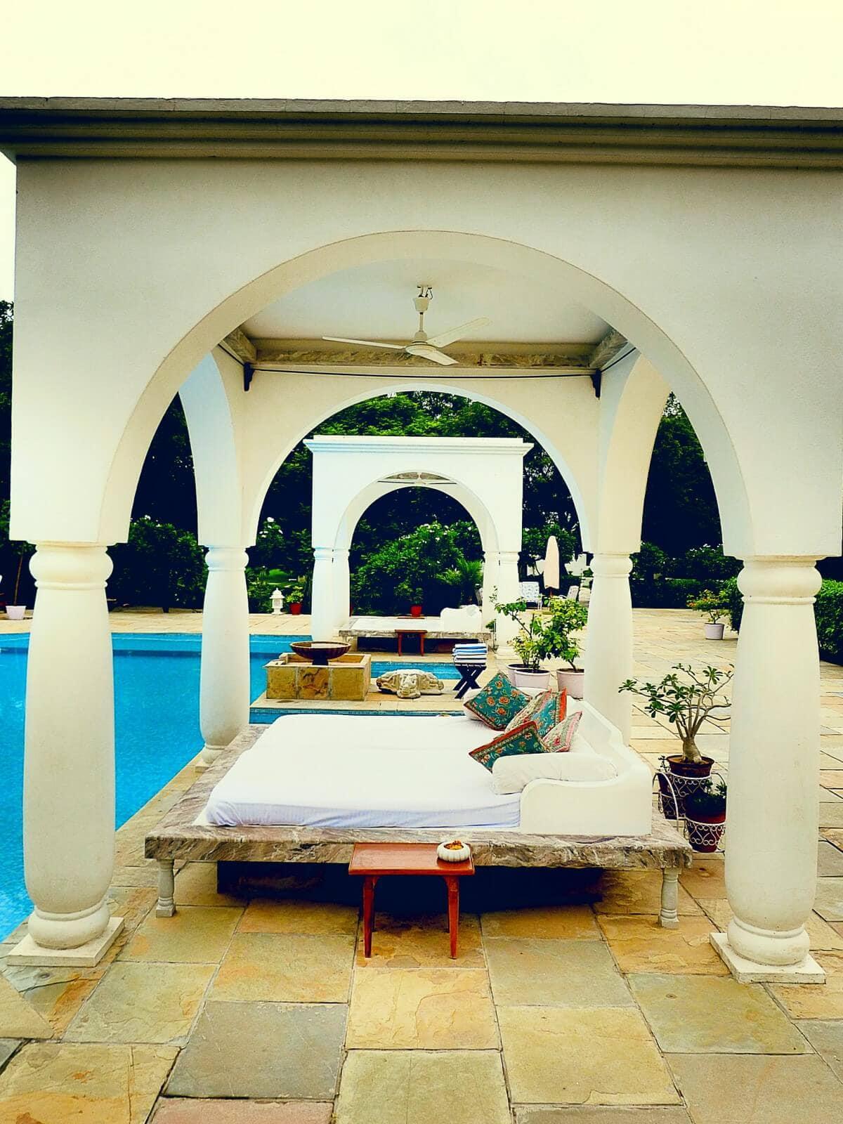 The poolside gazebo