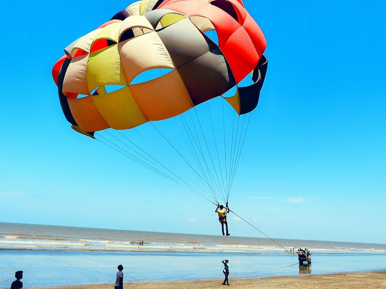 Parasailing (on land) at Devka beach, Daman