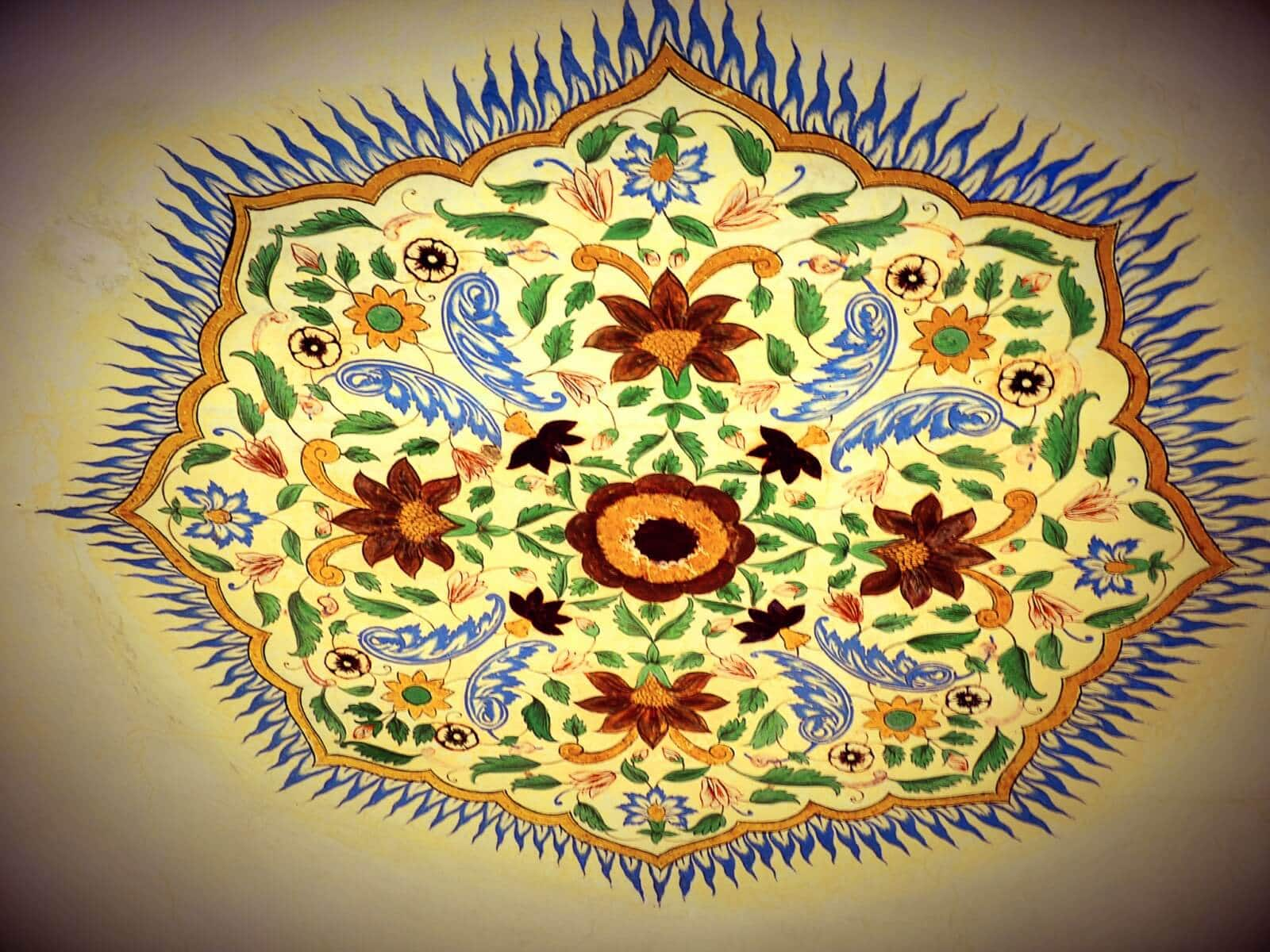 Painting with Gold, Ruby, Emerald etc. at Amer Fort, Jaipur