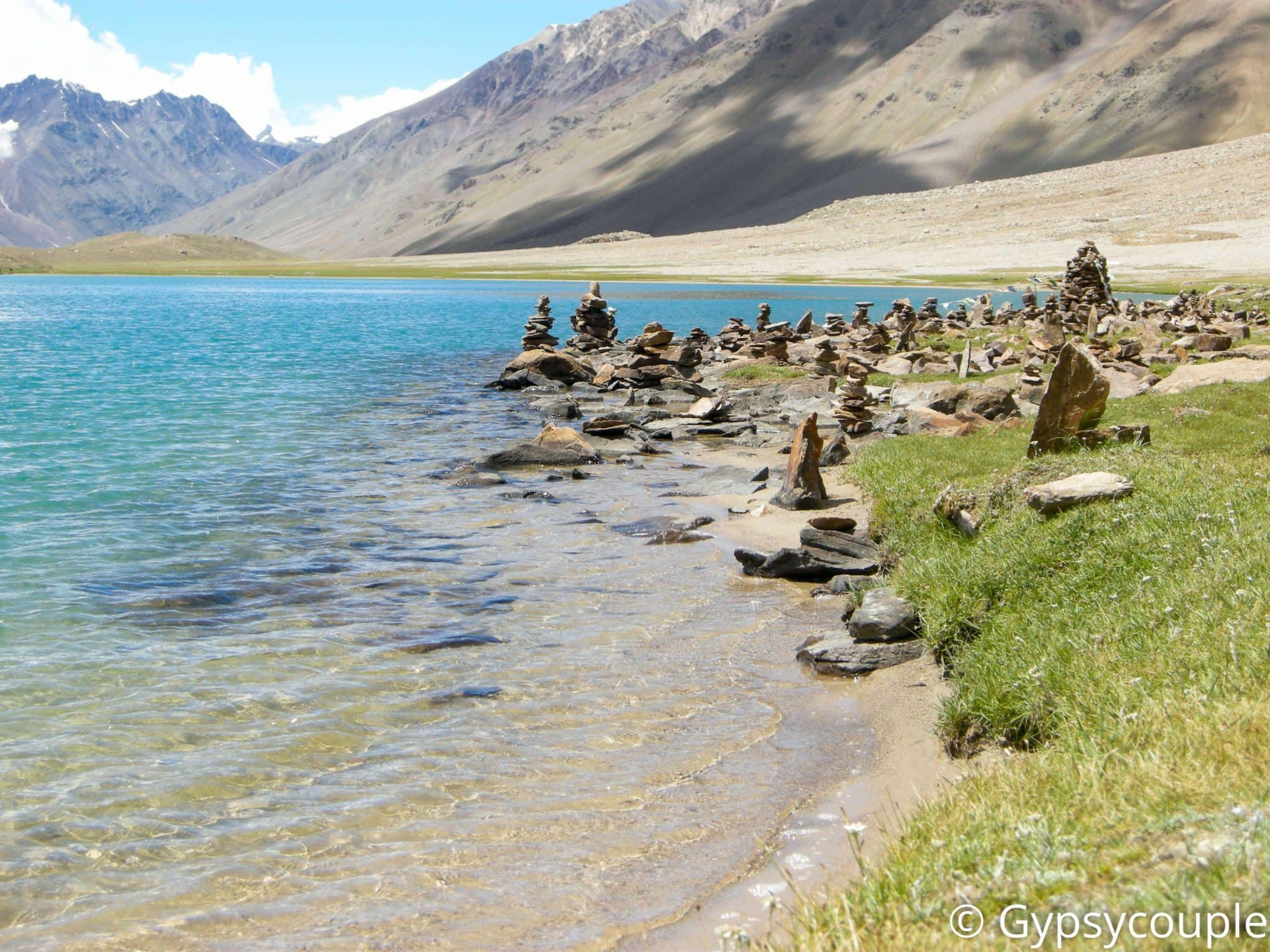 Chandratal Lake - Religious stone pillars